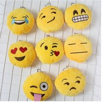 Wholesale 10 cm QQ Emoji Plush Pendant Key Chain Emoji Smile Emothion Yellow Cute Expression Plush Dolls Cartoon Plush Pendant Car Chain K7515
