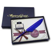 Wholesale Vintage Mini Blue Quill Pen Set For Wedding Door Gift
