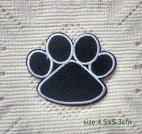 al por mayor animales con motivos-El perro de la pata del oso negro del animal de la impresión de la pata de la colección del adorno en la camisa del remiendo de la historieta