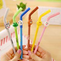 Wholesale X kawaii Straw Animals cartoon gel pen stationery writing pens canetas material escolar office school supplies papelaria