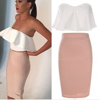 Wholesale Women Summer Dress Fashion Lady Sexy Strapless Backless Ruffle Off Shoulder Sleeveless Bodycon Dress S XL