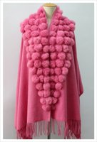 Wholesale Wool scarf with real rabbit fur balls accessories fashion shawl with fur balls ladies wool large cape