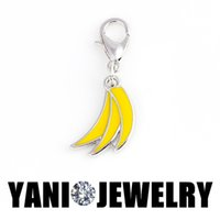 banana float - DIY Enamel Banana Floating Locket Charm Alloy Dangle Floating Charm with Lobster Clasp for Living Memory Glass Locket