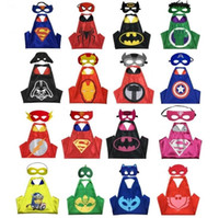 Wholesale Many Designs Double side kids Capes Halloween Cosplay Costume Superhero Capes With masks Batman Spiderman Turtles Flash Supergirl Batgirl