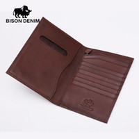 air ticket holder - BISON DENIM Top quality Genuine Leather Travel Wallet Business Billfold Passport Holder Air ticket Pocket
