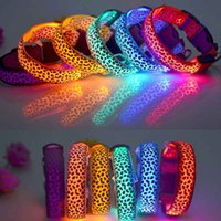 Wholesale Leopard LED Flashing Dog Collar LED Pet Collar Necklace Red Yellow Blue Green White Pink Orange Multicolor