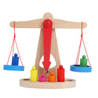 balance scale math - Small Wooden Balance Scale with Weights for Kids Math Education steelyard Balancing Toy K5BO