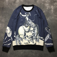 fashion clothes for men - 2016 brand clothes new European and American Palace horse portrait sweater for men and women wave point thin blue coat sweatshirts