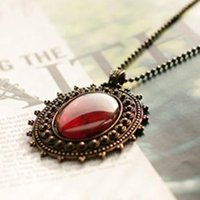 amber bronze - Fashion Vintage Royal Noble Necklace Bronze Color Black Red Hot Restore Ancient Ways Bohemian Amber Necklace Precious Stones