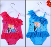 Wholesale Cheap In Stock Frozen One Piece Swim Bodysuit Anna Elsa Swimsuit Purple Swimwear Hot Sale Child Swimsuit MC0034