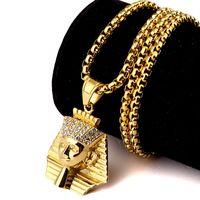 al por mayor oro de 24 conjunto-Los hombres más vendidos de moda de hip hop para hombre de alta calidad de 24 quilates de oro plateado hombres de acero inoxidable de la joyería de los collares de los colgantes del rey faraón joyería