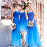 Wholesale Cheap Ombre Blue Bridesmaid Dresses in Stock Sweetheart Pleat Long Chiffon Beach Bridesmaid Dress Wedding Party Gowns Maid of honor dress