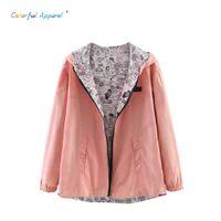 Wholesale 2016 Autumn Fashion women Pocket Zipper hooded two sides wear lady Cartoon outwear Bomber Basic Jacket