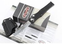 auto box - Microtech Knife quot Satin Halo V single action auto Tactical knife Survival gear knives with kydex sheath in box DHL free