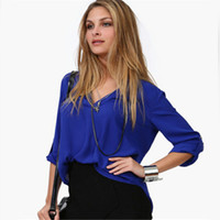 Cheap FG1605 2016 Newest Women Chiffon Blouse V-neck Long Sleeve Casual Women Tops Temperament Solid Shirts Plus Size M-XXL S016