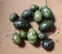 big green egg - yoni egg set green color natural stone drilled jade egg big medium small set for kegel