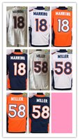 Wholesale NIK Elite Football Stitched Broncos Peyton Manning Von Miller White Blue Orange Jerseys Mix Order