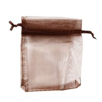 Wholesale US Transparent Polyester Yarn Gift Jewelry Bag Pouch Dark Brown