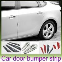 Cheap 4PCS Car Carbon Fiber Protector Auto Car Rearview Mirror Side Door Bumper Carbon Fiber PU Surface Anti-Rub Door Edge Strips