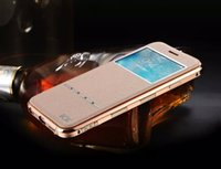 answer cover - Luxury Leather Flip Back Cover Case For Iphone s s Window View Case TPU Phone Bag Magnetic Sliding Answer Calls
