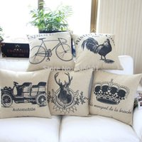 bicycle print fabric - Simple American fabric cushion black cotton sofa pillow bicycle deer head crown Rooster pillowcase