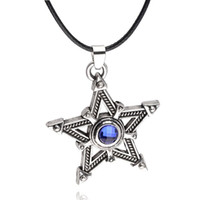 animations rocks - 14pcs punk Animation Cartoon black rock shooter blue gem mosaic Pentagram Pentacle Five pointed star pendant necklace boy Hot x320