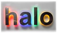 achat en gros de textes de lettres-signes halo rétroéclairés logo personnalisé marque numéro textes lettres signent affichage à l'extérieur