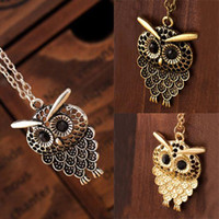 achat en gros de bronze owl-Vintage Women Owl Pendant Long Sweater Chain Jewelry Golden Antique Argent Bronze Charme livraison gratuite