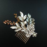 Wholesale Gold Leaf Wedding Hair Comb Crystal Beaded Floral Bridal Headpiece Women Hair Ornaments Wedding Hair Accessories