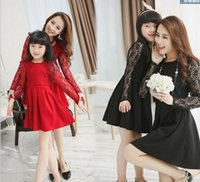 Cheap Mom And Daughter Dress Long Lace Sleeve & Lace Cover Korean Family Fashion Matching Mother Daughter Clothes Red Black Color