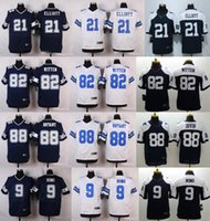 Wholesale New product football jerseys Ezekiel Elliott Tony Romo Jason Witten Dez Bryant white blue stitched can embroidery Mix Order