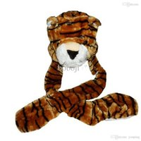 attached hat scarf - Big Promotion Kids TIGER BROWN Plush Winter Hat attached Scarf Mitts