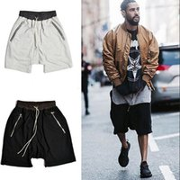 Wholesale Mens Hi Street Fashion Harem Shorts Kanye West Drop Crotch Loose Men Short Pants Drawstring Pocket With Zipper Shorts For Men