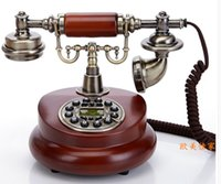 antique wood telephone - Antique telephone fashion phone vintage wood phone fitted landline telephone Handsfree Blue Screen Caller ID