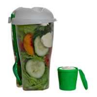Wholesale Fresh Salad Container Serving Cup Shaker with Dressing Container Fork Food Storage Use This Bowl for Picnic Lunch to Go