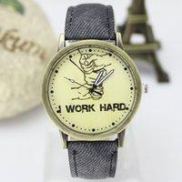 analog writing - 2016 fashion women watch Three fist write work hard Watch Dial Quartz watch Retro fashion watches Colorful