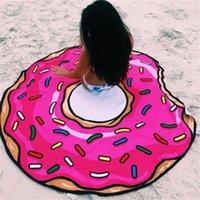 Wholesale Round Yoga Mat Picnic blanket pizza pizza hamburger donut Beach Shower Towel Blanket telo mare ciambella A913
