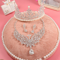 articles wedding dress - Korean peacock adorn article three piece suit wedding dress accessories suit wedding tiara crown pearl necklace jewelry