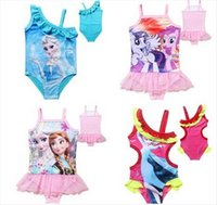 Wholesale Kids Girls Bikini Frozen Swimsuit Elsa Anna Bikini Set Cartoon Girls Swimsuit Swimwear Kids Children Bathing Suits baby One Piece Swimwear