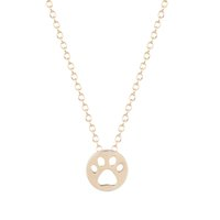 animal cuts - 10pcs Hot Creative Dog Paw Print Dye Cut Coin Shaped Animal Necklace Best Pendant Minimalist Jewelry Gift for Girls and Women