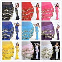 Wholesale 50pcs Egypt Belly Dancing Hip Skirt Scarf Wrap Belt Costume Belly Dance Waist Chain decoration Scarf Apron Colors Rows Coins DHL