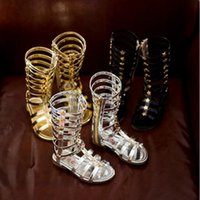 Wholesale 2016 summer child sandals female child high gladiator cool boots long gaotong rivet hot selling fashion cutout High quality