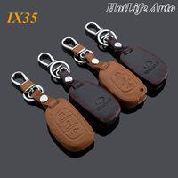 Wholesale 2014 Hyundai IX35 Car Keychain Genuine Leather Key Fob Case Cover for ix35 Key Chain Car Accessories