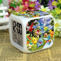 Wholesale 3D cartoon Poke Pikachu Digimon LED Colorful Changed Digital desk table alarm Clock Night Light For Kids Birthday Xmas Gifts types LC408