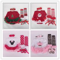 Wholesale 2016 baby girl christmas clothes floral newborn baby romper with tutu dress head band shoes leggings set baby cartoon clothing set