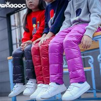 Wholesale Winter Warm Kids DownTrousers Stylish Solid Wadded Childrens Pants with Multi Colors for Boys and Girls H004