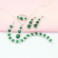 ashley m - ASHLEY Green Emerald Four Jewelry Sets For Women Silver Earring Pendant Necklace Ring Bracelet Free Jewelry Box M JSF001