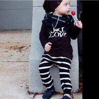Wholesale 2016 ins Boys Baby Childrens Clothing Sets Cotton Spring Autumn Long Sleeve tshirts Harem Pants Piece Set Jumpers Toddler Infant Clothes
