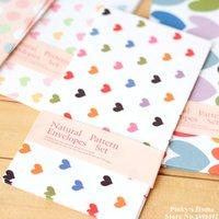 Wholesale pieces Natural Color Horizontal Version Colorful Heart Envelopes Long Paper Envelope