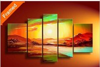 artwork reproductions - Canvas art painting natural sunrise oil painting decoration landscape wall pictures for living room reproduction artwork